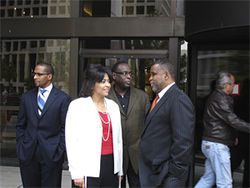 Co-defendants (from left to right) D'Angelo Lee, Sheila Hill, Darren Reagan and Don Hill take a lunch break on September 4 during Don's second day of testimony.