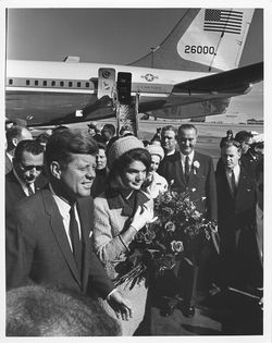 The Kennedys arrive at Love Field on November 22, 1963, the day he was shot.