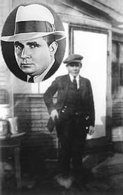 A younger Robert E. Howard on the back porch of his family's home; inset, Howard in late 1934.