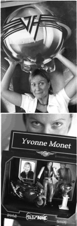 Thanks to the likes of Van Halen, Yvonne has been holding up solid numbers during her midday shift at The Bone. Bottom: Yvonne displays the action figure made for her by one of the station's many passionate fans.