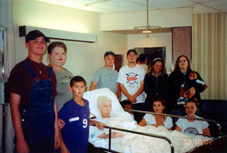 Jonny Holden (far left, in overalls) with his grandmother Catherine Ciravolo in the nursing home.
