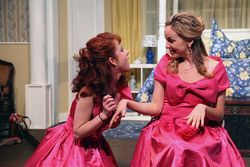 Code pink: Barrett Nash and Heather Sims are wedding bashers in Contemporary Theatre's Five Women Wearing the Same Dress.