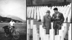 "Rigg, left, bicycled all over Germany, surviving on peanut butter and searching for surviving Mischlinge. He ultimately interviewed 430 men of Jewish descent who'd served in the Wehrmacht. Right, Rigg in a German military cemetery with a ""full Jew,"" Paul-Ludwig Hirschfeld, who falsified his papers and severed all contact with his family, except his Jewish fiancee, in order to survive the Nazi era. Hirschfeld claims he secretly used his position to help fellow Jews. But his brother, sister and the rest of his family died in the Holocaust."