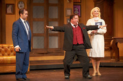Brian Hathaway as Leo, B.J. Cleveland as Max and Whitney Hennen as Ulla don't miss a lick in Uptown Players' musical The Producers.