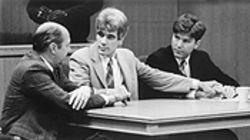Kerry Cook (center) waits on the jury's verdict in 1994 with his defense team, Paul Nugent (right) and Jim McCloskey (left).