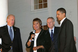 Eddie Bernice Johnson, shown here with Vice President Joe Biden, Senate Majority Leader Harry Reid of Nevada and President Barack Obama. She may be tarnished, but she brings game.