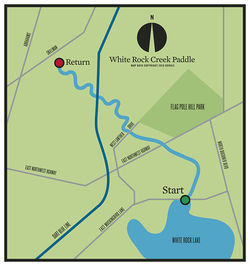 "White Rock Creek Paddle: up to the point marked ""Return,"" then back to the starting point."