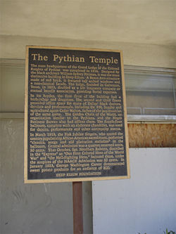 A historical marker reveals the true significance of the Knights of Pythias Temple.