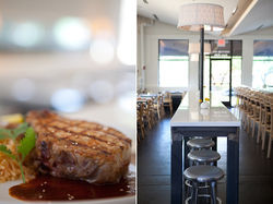A grilled porkchop with ancho chili and honey sauce is at home in Komali's chic space.