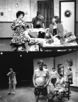 Allyn Carrell, Lisa Hassler and Angela Wilson (left to right) sort out the family squabbles in Uptown Players' Sordid Lives. Below: The script is long on bawdy comedy and short on subtlety--here, a trio of beer-swiggin' yahoos are forced to strip down by a pair of gun-toting housewives.