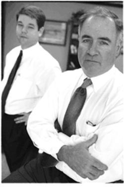 Greg Gray, left, and Ted Lyon, the lawyers who got Felicia Pitre's felony charge tossed, say the district attorney is on a political vendetta.