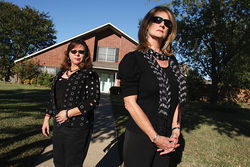 Tina Wiley and Joni Shannon (right), frequently drive by Stone's now-vacant house in Far East Dallas.