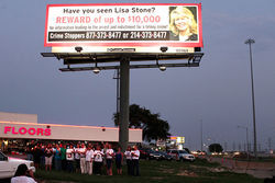 In September, Stone&#039;s friends organized a candlelight vigil held beneath a billboard advertising a reward for information