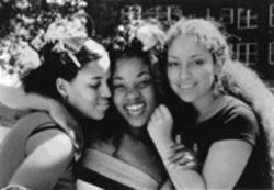 Girls, interrupted: From left, Kerry Washington, Anna Simpson and Melissa Martinez play three children playing three grown-ups.