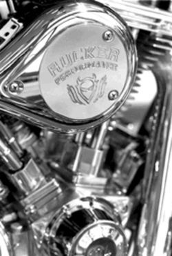 Every part of Rucker's engines are polished to a chrome  gleam.