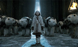 Dakota Blue Richards and some polar bear pals in The Golden Compass