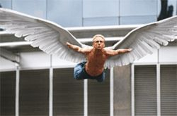 Sure, he looks pretty cool, but you wouldn't want to park  your car under Angel (Ben Foster).