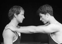 The Wrestling Season's teen studs Luke (Chad M. Peterson), left, and Matt (Andy Bean)