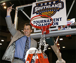 UTA head coach Scott Cross savors the win that got his Mavericks an invite to the NCAA Men's Basketball Tournament—UTA's first-ever journey into March Madness.