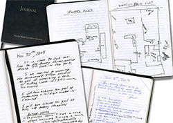 White's training journals include maps for mental journeys he uses as a mnemonic device.