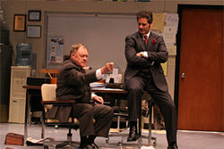 New York actors Jack Davidson and Peter Rini get down to business as small-time land hustlers in DTC's Glengarry Glen Ross.