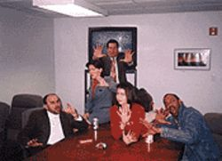 From left to right: Kent Williams, Linda Coleman, Matthew Stephen Tompkins, Laura Bailey, and Steven Blount choose money or their lives.