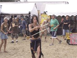 Bonnaroo hippies in their natural juggling habitat.