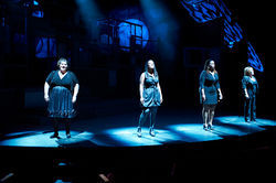 "Amy Stevenson, Natalie King, Denise Lee and Sara Shelby-Martin sing a bluesy ""Blackbird"" in Uptown Players' Broadway Our Way revue."