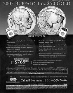 Coin expert Michael Fuljenz's companies run ads like this one in national magazines.