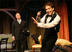 Bertie Wooster (Regan Adair, right) carries on before his brilliant butler Jeeves (Gary Taggart).