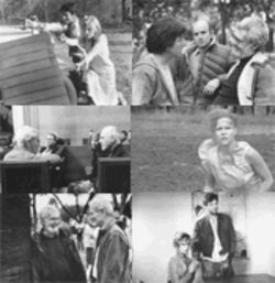 Clockwise from top left: Warren Beatty and Faye Dunaway in Bonnie and Clyde; Dustin Hoffman, producer Stanley Jaffe and Robert Benton on the set of Kramer vs. Kramer; Sally Field in Places in the Heart; Kim Basinger and Jeff Bridges in Nadine; Benton and Paul Newman on the set of Twilight; and Benton, with Nicole Kidman and Anthony Hopkins, directing his new film The Human Stain.
