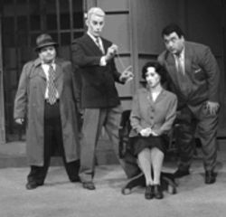 A. Raymond Banda, Tim Honnoll, Leslie Patrick and Kurt Kleinmann (who's also the writer) cast a spell as colorful characters in the fast-talking black-and-white mystery Cross Stage Right: Die! at Pegasus Theatre.