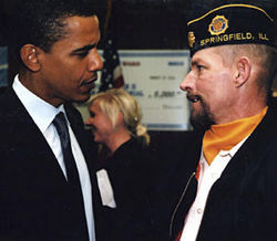 In 2005, Obama met with veterans in Springfield, Illinois, to discuss military benefits.