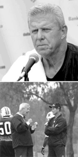 Despite adding depth, Parcells (above) says, his team might not be able to improve on last year's 10-6 record. Below, Parcells talks with defensive coordinator Mike Zimmer.