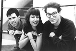 One guess which one they call Funny Face: The Muffs are, from left, Roy McDonald, Kim Shattuck, and Ronnie Barnett.