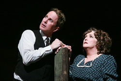 Broadway baritone Davis Gaines and Dallas actress Julie Johnson play killer and victim in Lyric Stage's The Night of the Hunter.