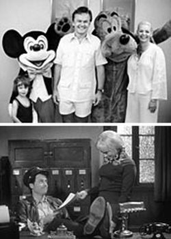 At top: Scotty, Bob and Patti Crane in happier times. Below: Greg Kinnear as Bob Crane and Maria Bello, who plays Patti Olson, in Auto Focus.