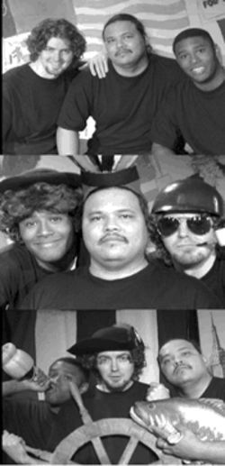 Ben Rosario, Chris Klongpayabal and Preston Murchison (bottom photo from left to right) wear many hats--and the occasional frilly dress--in the comedy revue The Complete History of America (abridged).