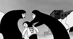 East meets West in the black and white, animated culture clash Persepolis.