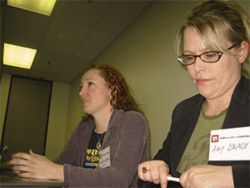 "Amy Brady, right, says she and fellow pro gamer Morgan Romine get paid to kick ""guys' asses"" at game conventions."