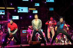 Scott J. Campbell (Tunny), Van Hughes (Johnny) and Jake Epstein (Will) polish the punk-rock in American Idiot at the Winspear.