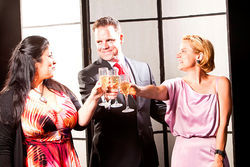 Christina Vela, Max Hartman and Diane Casey-Box play characters who meet at a party and end up scammed in Ponzi at Kitchen Dog Theater.