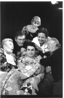 Jeffrey Schmidt, center, plays a grandson trying to break free of his smothering grandparents in Over the River and Through the Woods, which features, from left to right, Ada Lynn, Hugh Feagin, Kelly Grandjean, Barbara Beirbrier and Loring Stevenson.