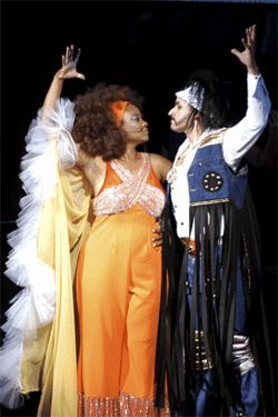 M. Denise Lee as Titania and Marco Rodriguez as Oberon have a little Midsummer Night's fever.