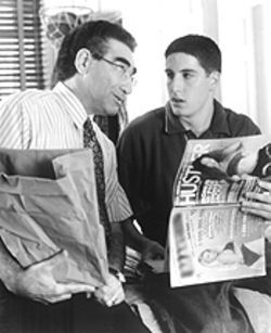 Time for that ol' father-son talk: Jim (Jason Biggs, right) and his pops (Eugene Levy) find it hard to talk about the naked ladies.