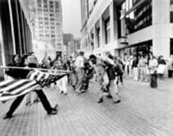 "The stars and stripes are used as a weapon in ""The Soiling of Old Glory"" from 1977."