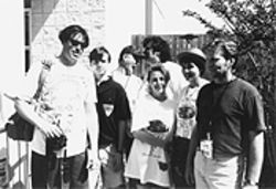 Back in the good old days: The Edge staff (circa 1992) was, from left, Ernie Mills, Keven McAlester, Brian the Butler, George Gimarc, Valerie Knight, Wendy Naylor, and Spike.