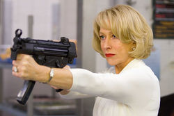God save the queen: Even Helen Mirren's trigger finger has a touch of class.