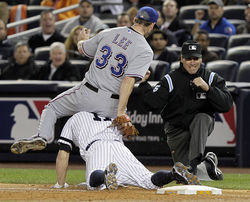 In Texas: 8-0 win over the Yankees on Monday, Rangers ace Cliff Lee pitched eight scoreless innings, struck out 13 and got speedy Brett Gardner out at first, pre-hurdle.