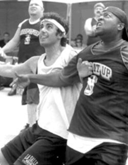 So what, we wonder, was a cast member from Fame doing playing in a media hoops game?